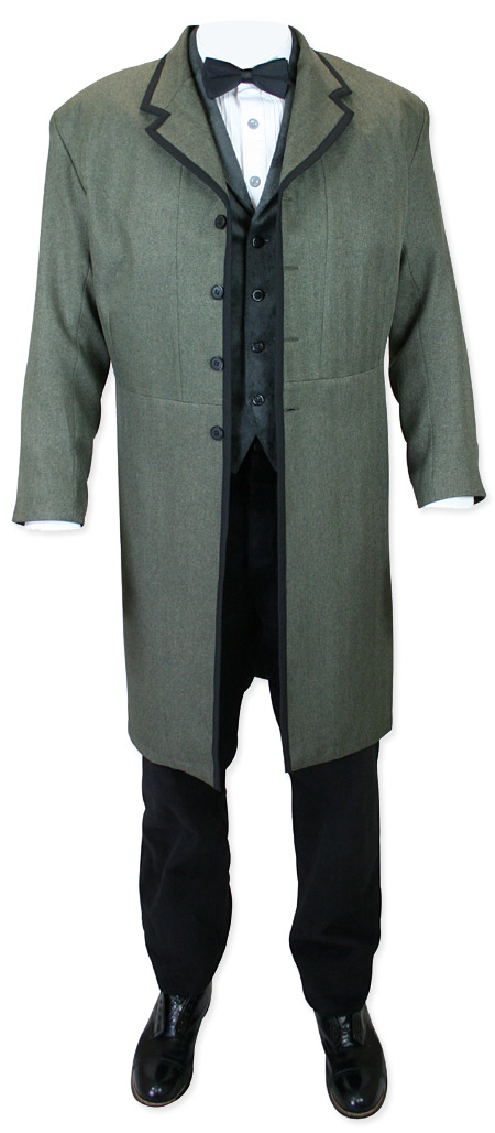 Victorian Old West Mens Coats Green Synthetic Solid Herringbone Frock |Antique Vintage Fashioned Wedding Theatrical Reenacting Costume |