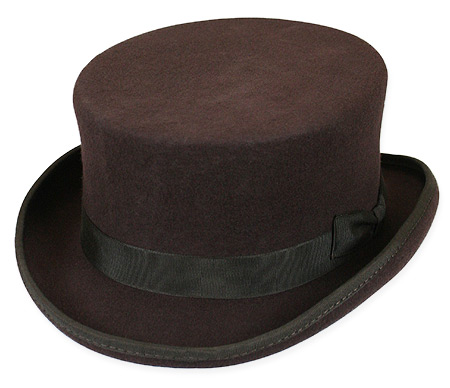 Victorian Old West Steampunk Mens Hats Brown Wool Felt Top |Antique Vintage Fashioned Wedding Theatrical Reenacting Costume |