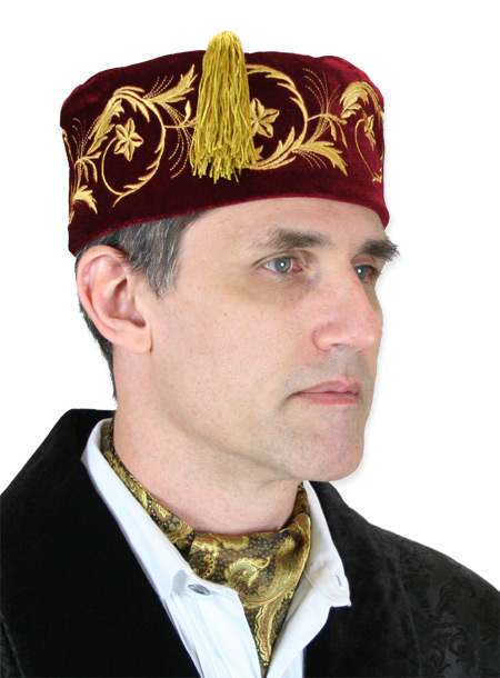 Victorian Steampunk Mens Hats Burgundy Velvet Smoking Caps |Antique Vintage Old Fashioned Wedding Theatrical Reenacting Costume |