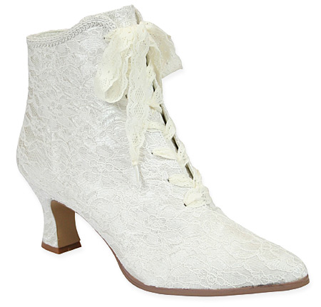 Victorian Old West Steampunk Ladies Footwear White Lace Ankle Boots |Antique Vintage Fashioned Wedding Theatrical Reenacting Costume | Dickens