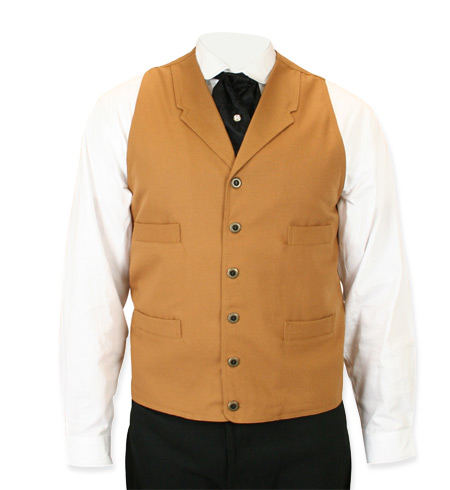 Victorian Old West Mens Vests Tan Brown Cotton Solid Work |Antique Vintage Fashioned Wedding Theatrical Reenacting Costume |