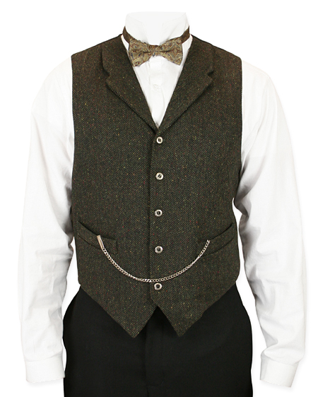Victorian Old West Mens Vests Green Synthetic Solid Herringbone Tweed Dress Work |Antique Vintage Fashioned Wedding Theatrical Reenacting Costume |