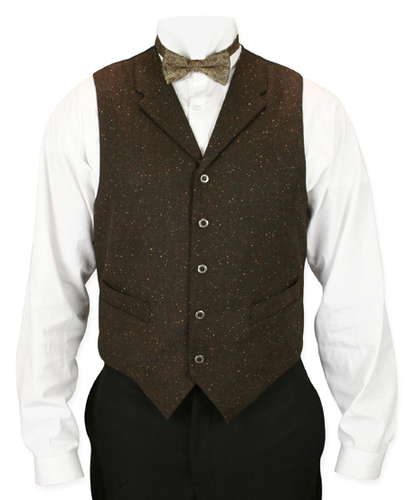 Victorian Old West Mens Vests Brown Wool Blend Synthetic Solid Herringbone Tweed Dress Work |Antique Vintage Fashioned Wedding Theatrical Reenacting Costume |
