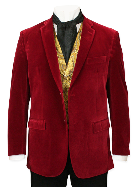 Victorian Mens Coats Red Velvet Solid Smoking Jackets |Antique Vintage Old Fashioned Wedding Theatrical Reenacting Costume |