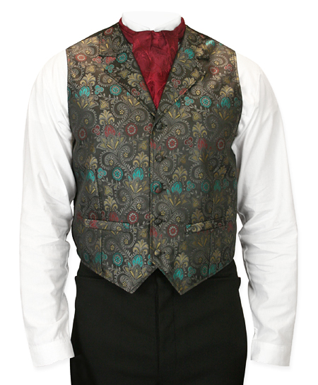 Victorian Old West Mens Vests Gray Synthetic Floral Dress |Antique Vintage Fashioned Wedding Theatrical Reenacting Costume |