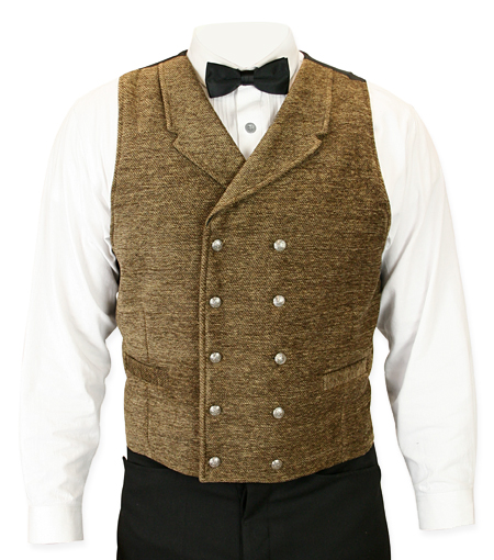 Victorian Old West Regency Mens Vests Brown Synthetic Solid Dress |Antique Vintage Fashioned Wedding Theatrical Reenacting Costume |