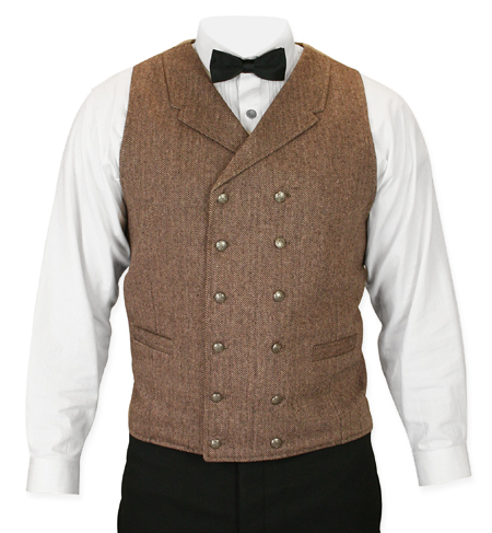 Victorian Old West Mens Vests Brown Wool Blend Tweed Herringbone Dress |Antique Vintage Fashioned Wedding Theatrical Reenacting Costume |