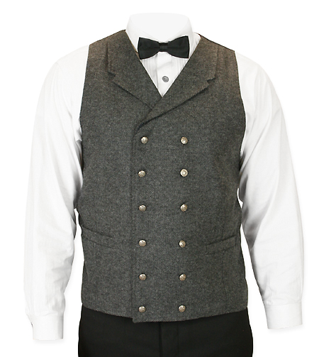 Victorian Old West Mens Vests Gray Wool Blend Tweed Herringbone Dress |Antique Vintage Fashioned Wedding Theatrical Reenacting Costume |