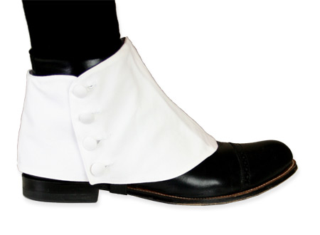 Victorian Steampunk Mens Footwear White Cotton Spats and Gaiters |Antique Vintage Old Fashioned Wedding Theatrical Reenacting Costume |