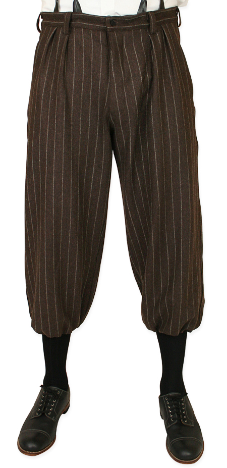 Victorian Steampunk Edwardian Mens Pants Brown Wool Blend Stripe Knickers |Antique Vintage Old Fashioned Wedding Theatrical Reenacting Costume | Golf