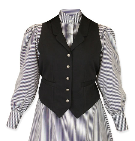 Victorian Old West Steampunk Ladies Vests Black Cotton Solid Dress Work |Antique Vintage Fashioned Wedding Theatrical Reenacting Costume |