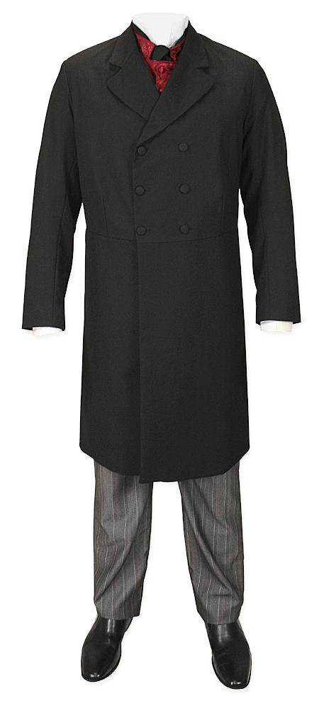 Victorian Old West Mens Coats Black Wool Blend Synthetic Solid Frock Matched Separates |Antique Vintage Fashioned Wedding Theatrical Reenacting Costume |