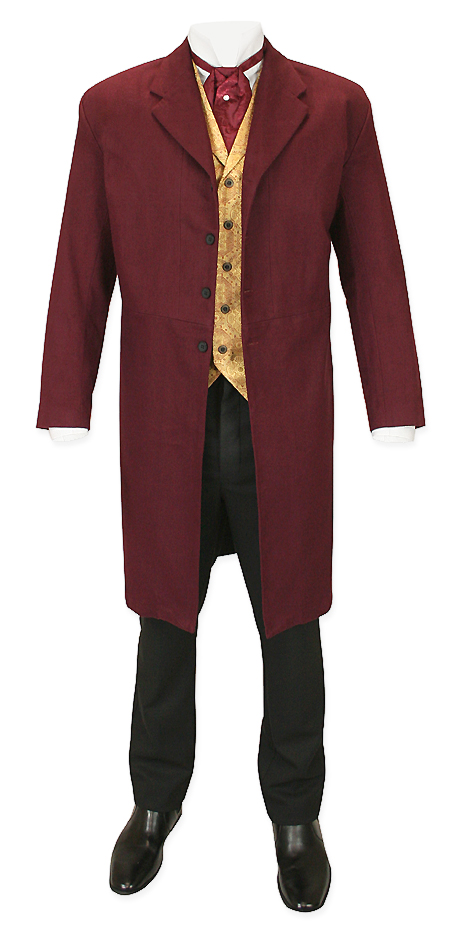 Victorian Old West Mens Coats Red Burgundy Cotton Solid Frock |Antique Vintage Fashioned Wedding Theatrical Reenacting Costume | Gifts for Him