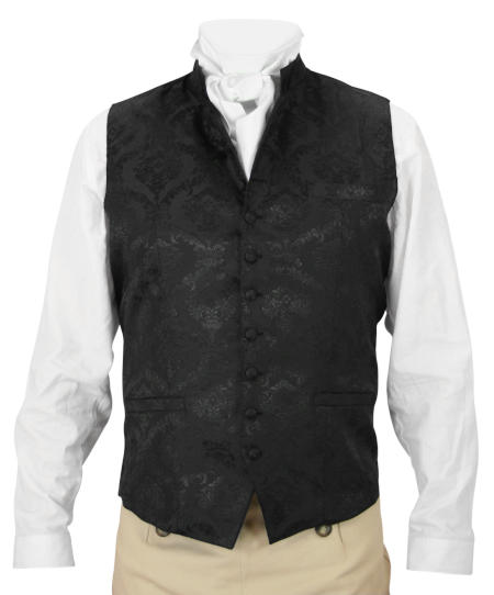 Victorian Old West Steampunk Regency Mens Vests Black Satin Synthetic Microfiber Floral Dress Clerical |Antique Vintage Fashioned Wedding Theatrical Reenacting Costume |