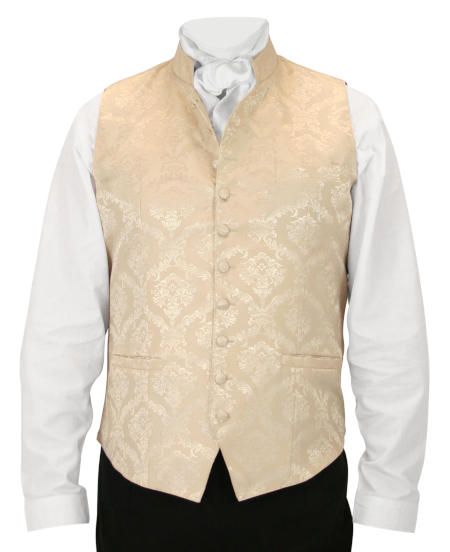 Victorian Old West Steampunk Regency Mens Vests Ivory Satin Synthetic Floral Dress Clerical |Antique Vintage Fashioned Wedding Theatrical Reenacting Costume |