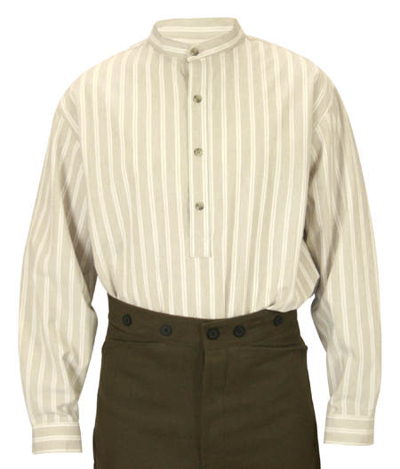 Victorian Old West Mens Shirts Tan Brown Cotton Stripe Work |Antique Vintage Fashioned Wedding Theatrical Reenacting Costume |