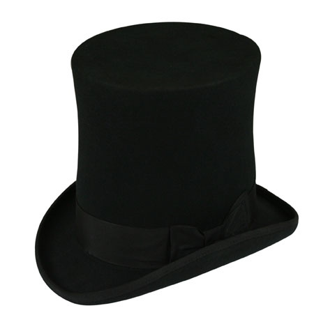 Victorian Mens Hats Black Wool Felt Top |Antique Vintage Old Fashioned Wedding Theatrical Reenacting Costume |