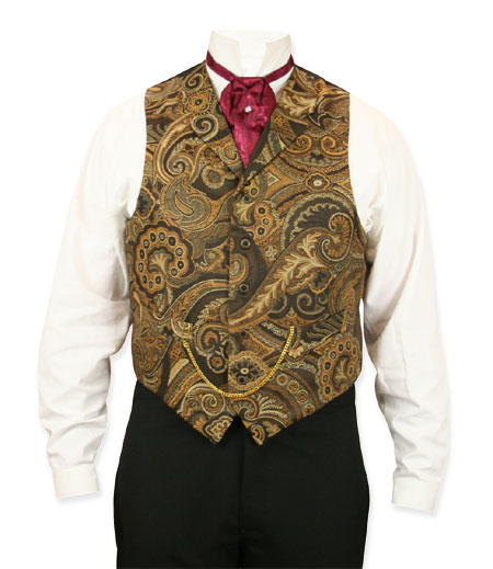 Victorian Steampunk Mens Vests Brown Gold Satin Synthetic Tapestry Dress |Antique Vintage Old Fashioned Wedding Theatrical Reenacting Costume |