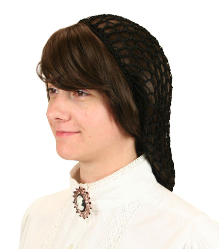 Victorian Old West Ladies Hats Black Synthetic Hair Nets |Antique Vintage Fashioned Wedding Theatrical Reenacting Costume |