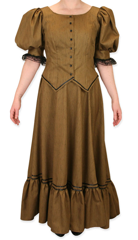 01ca2e4d9443  6 Rated Old West Dress Antique Satin Day Suit - Gold