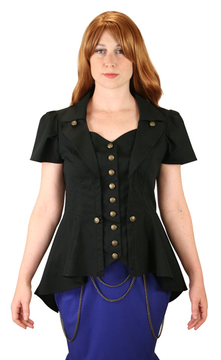 Steampunk Ladies Blouses Black Cotton Blend Solid Fitted |Antique Vintage Old Fashioned Wedding Theatrical Reenacting Costume |