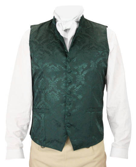 Victorian Old West Steampunk Regency Mens Vests Green Satin Synthetic Microfiber Floral Dress Clerical |Antique Vintage Fashioned Wedding Theatrical Reenacting Costume |