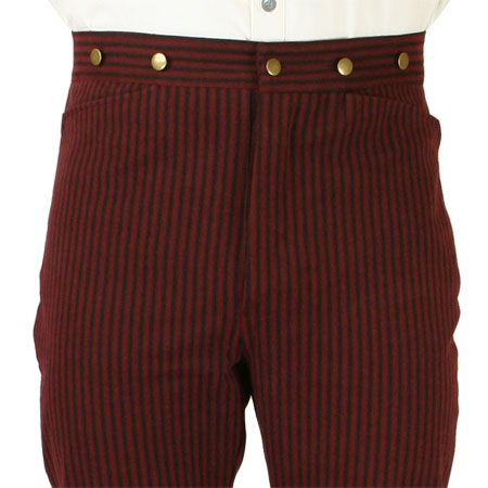 Victorian Old West Steampunk Mens Pants Burgundy Cotton Stripe Dress Work Matched Separates |Antique Vintage Fashioned Wedding Theatrical Reenacting Costume | Motorist
