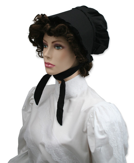Victorian Old West Ladies Hats Black Cotton Bonnets |Antique Vintage Fashioned Wedding Theatrical Reenacting Costume |