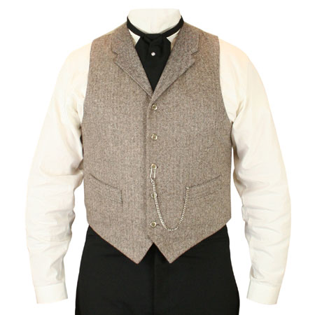 Victorian Old West Mens Vests Tan Brown Tweed Wool Blend Herringbone Dress Work |Antique Vintage Fashioned Wedding Theatrical Reenacting Costume | Motorist