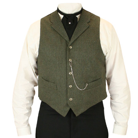 Victorian Old West Mens Vests Green Tweed Wool Blend Herringbone Dress Work |Antique Vintage Fashioned Wedding Theatrical Reenacting Costume |