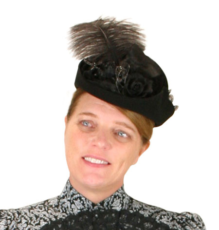 Victorian Old West Ladies Hats Black Wool Felt Small French |Antique Vintage Fashioned Wedding Theatrical Reenacting Costume |