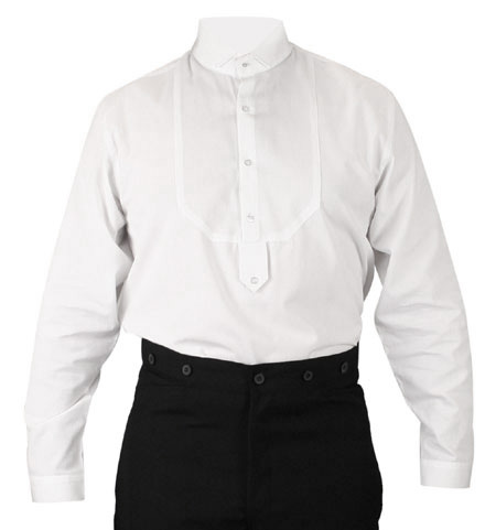 Victorian Old West Mens Shirts White Cotton Solid Dress Tuxedo |Antique Vintage Fashioned Wedding Theatrical Reenacting Costume |
