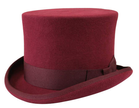 Victorian Old West Steampunk Mens Hats Burgundy Red Wool Felt Top |Antique Vintage Fashioned Wedding Theatrical Reenacting Costume |