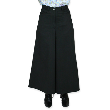 Victorian Old West Ladies Pants Black Cotton Solid Work Riding Split Skirts |Antique Vintage Fashioned Wedding Theatrical Reenacting Costume |