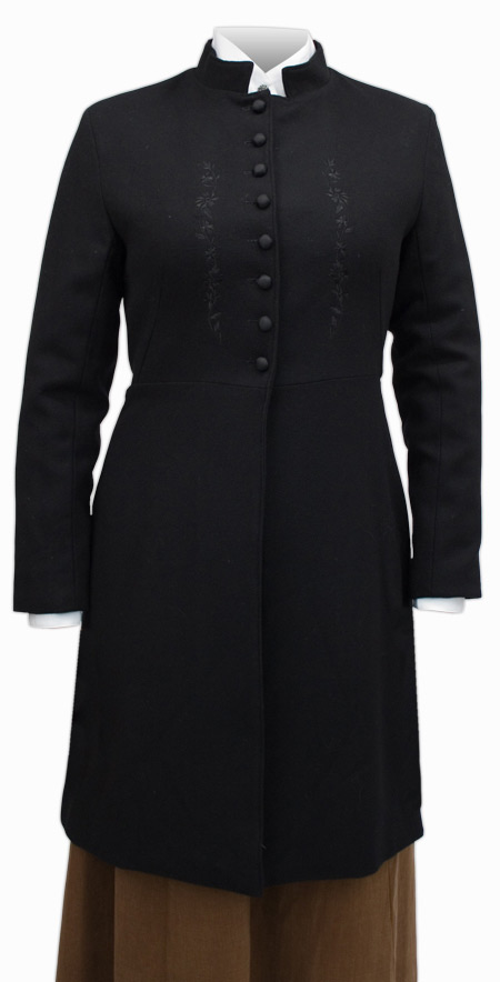 Wedding Ladies Black Wool Solid Stand Collar Frock Coat | Formal | Bridal | Prom | Tuxedo || Heritage Wool Frock Coat - Black