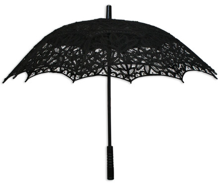 Battenberg Lace Parasol Black