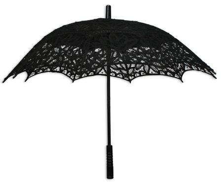 Battenberg Lace Parasol Black