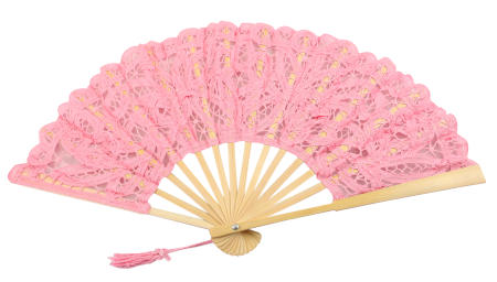 1800s Ladies Red Cotton,Lace Fan | 19th Century | Historical | Period Clothing | Theatrical || Battenberg Lace Fan, Pink