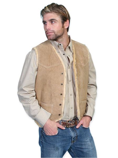 1800s Mens Brown Leather Solid No Collar Leather Vest | 19th Century | Historical | Period Clothing | Theatrical || Hunter Vest - Boar Suede Leather - Tobacco