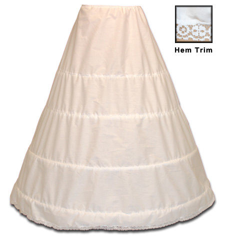 Wedding Ladies White Solid Hoop Underskirt | Formal | Bridal | Prom | Tuxedo || Four Bone Hoop Underskirt