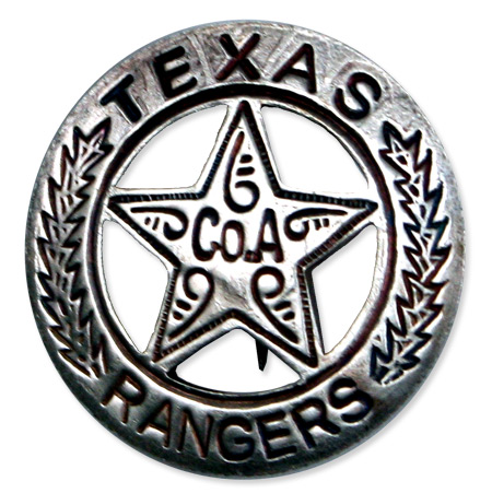 1800s Mens Silver Alloy Badge | 19th Century | Historical | Period Clothing | Theatrical || Premium Old West Badge - Texas Ranger, Co. A