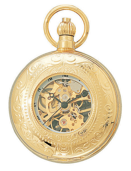 1800s Mens Gold Alloy Mechanical Watch | 19th Century | Historical | Period Clothing | Theatrical || Premium Gold Viewing Window Pocket Watch with Chain