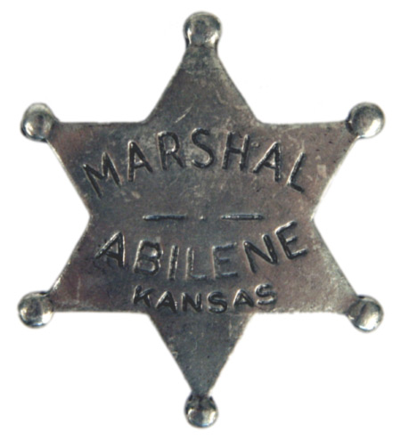 Vintage Mens Silver Alloy Badge | Romantic | Old Fashioned | Traditional | Classic || Old West Badge - Abilene KS Marshal