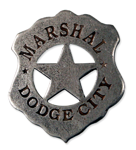 Wedding Mens Silver Alloy Badge | Formal | Bridal | Prom | Tuxedo || Old West Badge - Dodge City Marshal