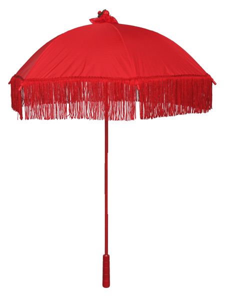 Wedding Ladies Red Solid Parasol | Formal | Bridal | Prom | Tuxedo || Parasol, Red Fringe