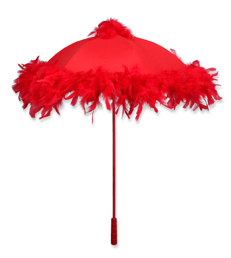 Victorian Ladies Red Solid Parasol | Dickens | Downton Abbey | Edwardian || Parasol, Red Feather