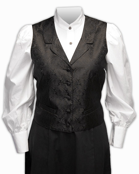 Victorian Ladies Black Paisley Notch Collar Dress Vest | Dickens | Downton Abbey | Edwardian || Weathersby Ladies Vest
