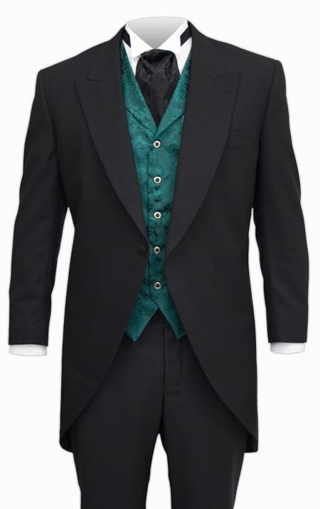 victorian cutaway morning coat black wool