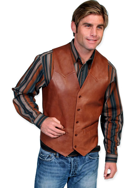 Steampunk Mens Brown Leather Solid No Collar Leather Vest | Gothic | Pirate | LARP | Cosplay | Retro | Vampire || Western Single Point Vest - Italian Lamb Leather - Antique Brown