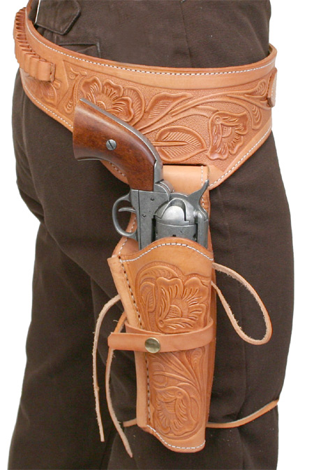 Victorian Mens Brown Leather Tooled Gunbelt Holster Combo | Dickens | Downton Abbey | Edwardian || (.44/.45 cal) Western Gun Belt and Holster - RH Draw - Brown Tooled Leather